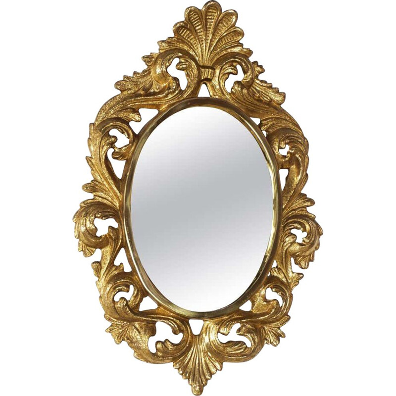 Vintage gilt bronze rocaille mirror with leaves