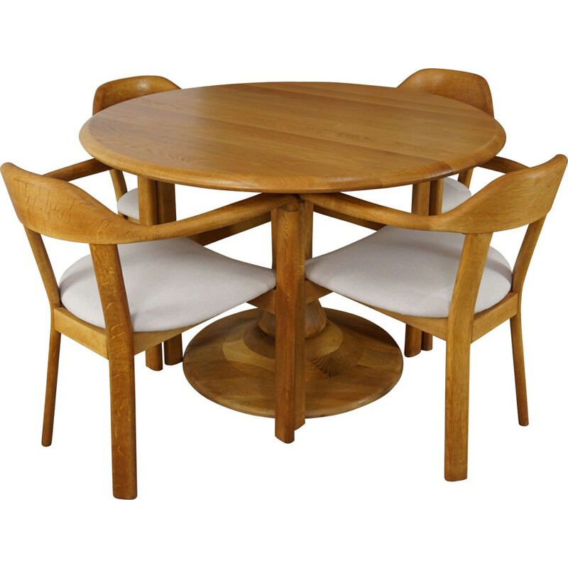 Vintage dining set with round table and 4 matching oak armchairs 1980s