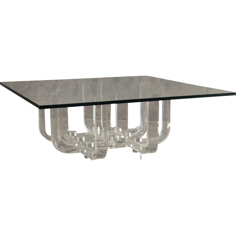 Vintage coffee table Mille in lucite and glass by Philippe Jean 1972