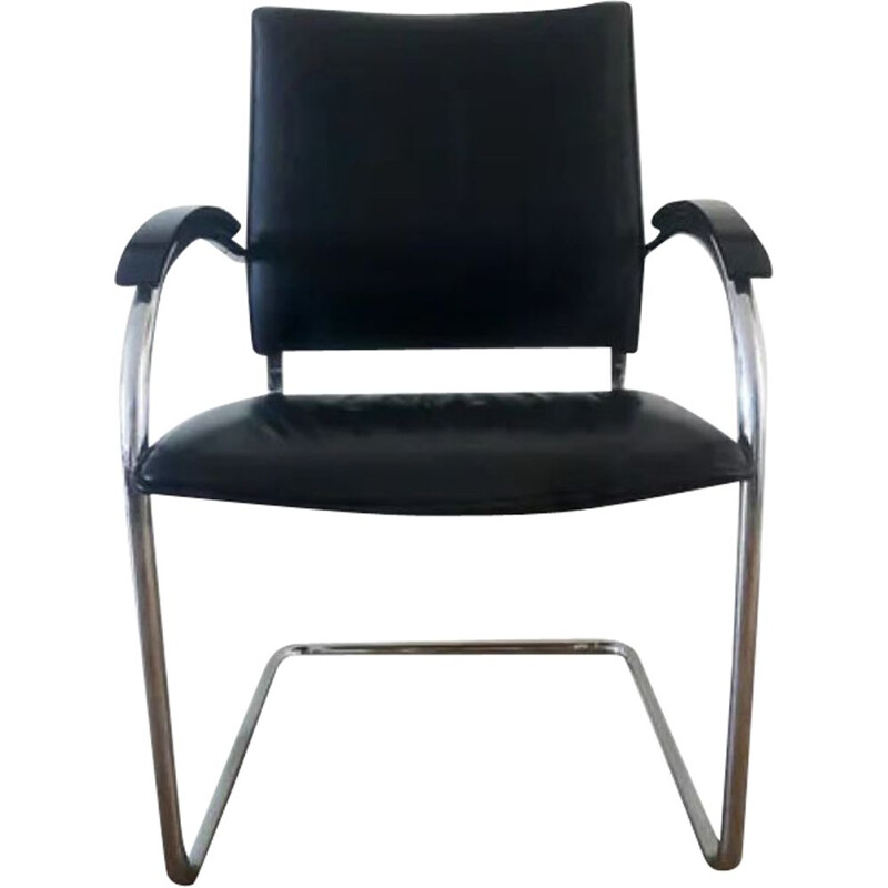 Vintage Thonet S 74 Black Leather Cantilever Chair