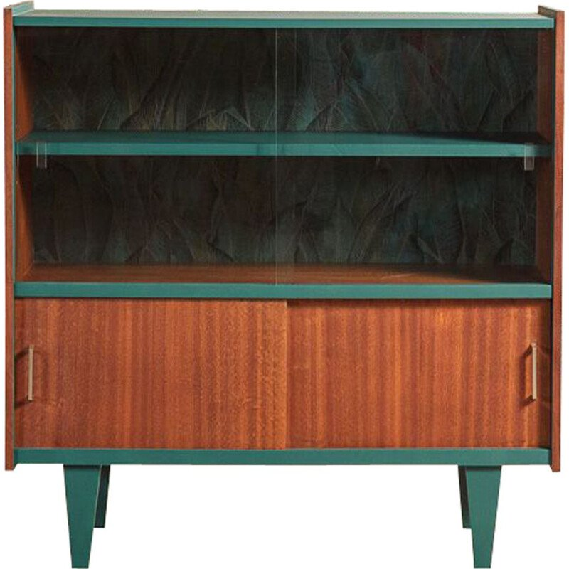 Vintage showcase furniture relooked in green-blue with Casamance wallpaper