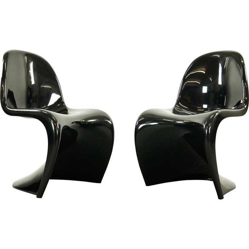 Pair of vintage Panton Chairs in black by Verner Panton for Herman Miller 1975s