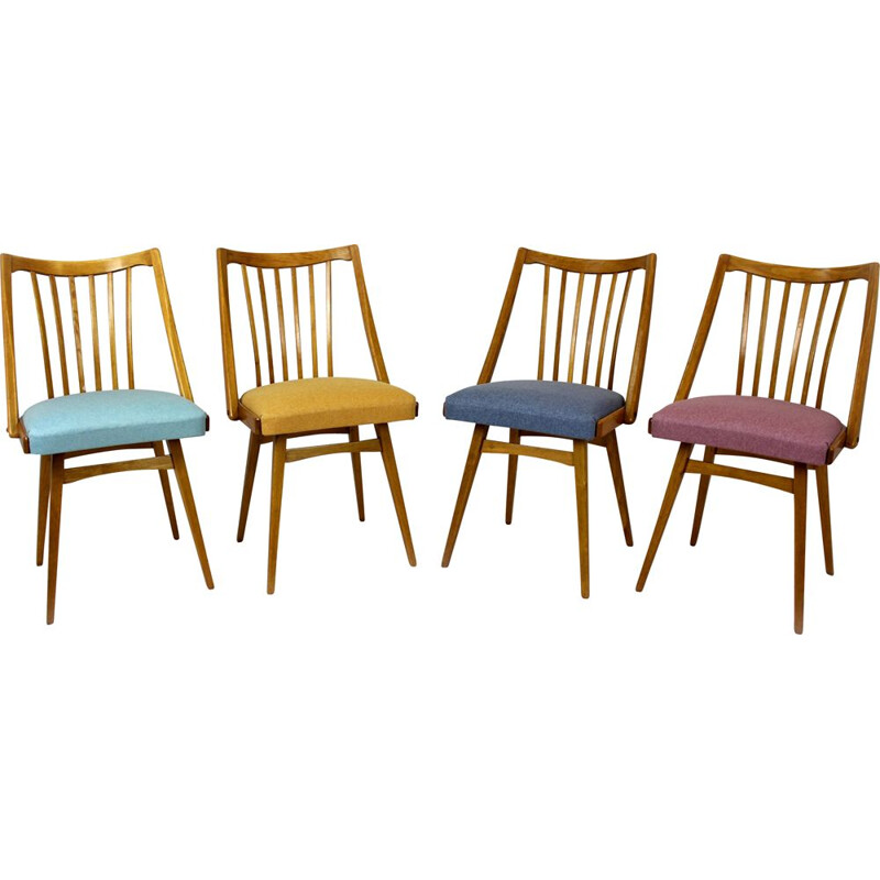 Set of 4 vintage Oak Dining Chairs from Interier Praha 1960s