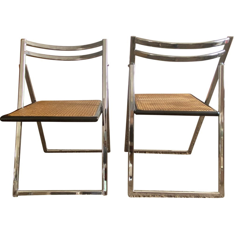 Pair of vintage folding chairs in steel caning 1970s