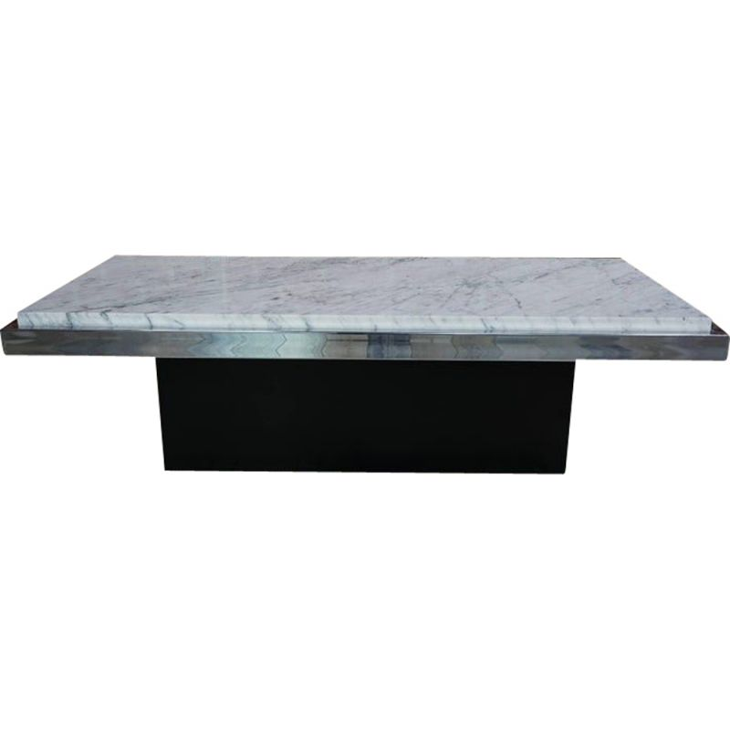 Vintage coffee table in white marble chrome and wood