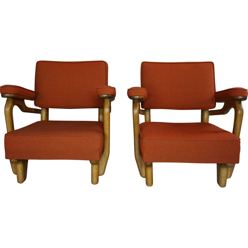 Pair of vintage armchairs by Guillerme and Chambron, French 1950s