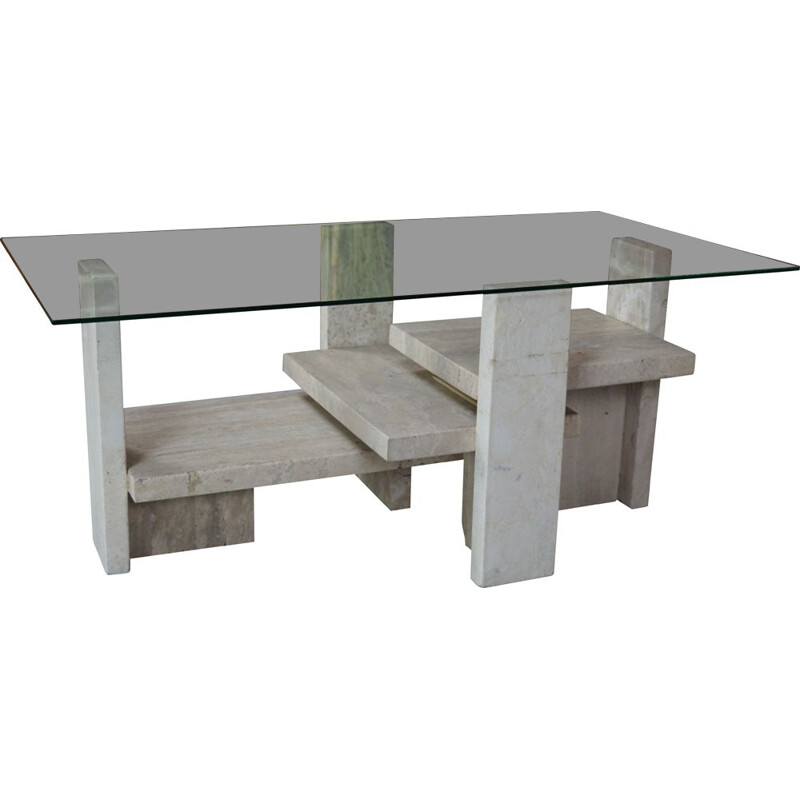 Vintage coffee table in travertine and glass design Willy Ballez