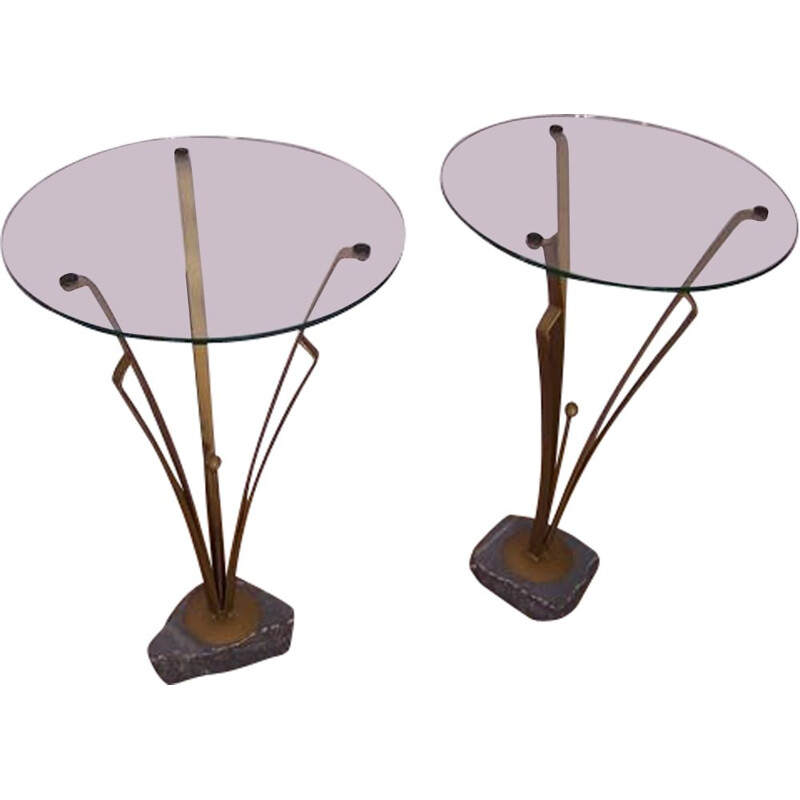 Pair of vintage stone metal and glass art deco side tables