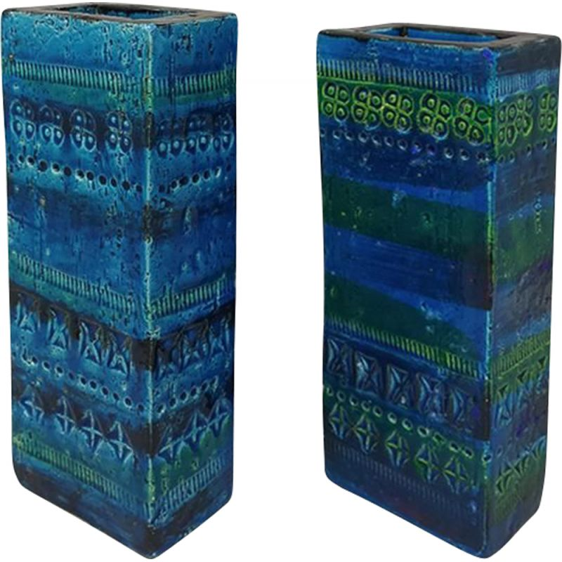 Pair of Vintage Vases by Aldo Londi Blue Collection Bitossi 1960s