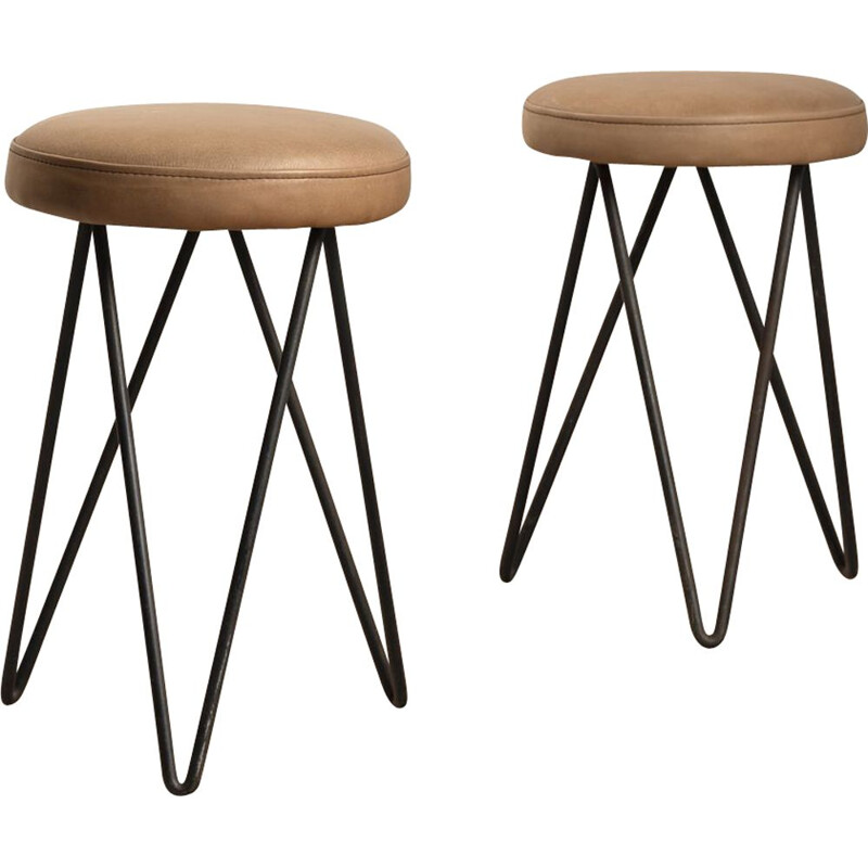 Pair of vintage stool leather work, French 1950s