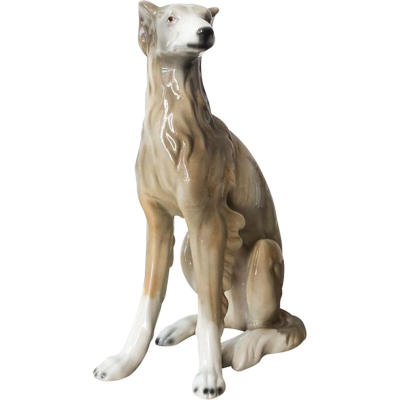 Vintage Ceramic Dog Sculpture, Portuguese 1970s