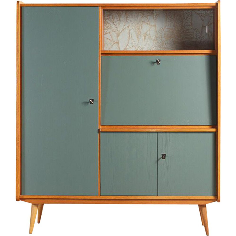 Vintage cabinet secretary in steel blue with Casamance wallpaper