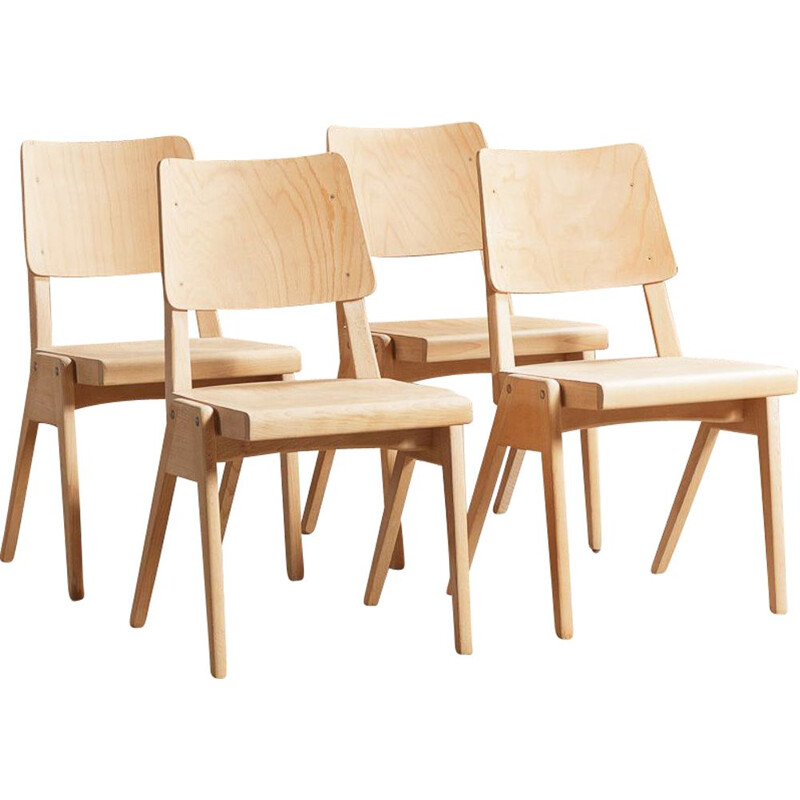 Set of 4 vintage solid beech chairs with compass feet 1950s