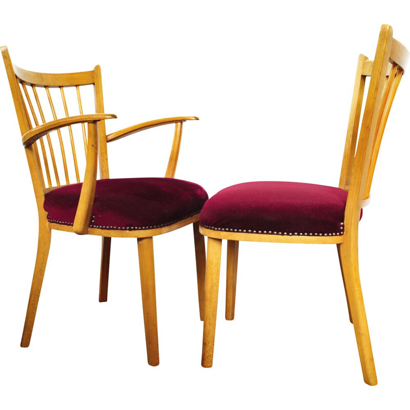 Pair of Vintage beech chair with red upholstery 1950s