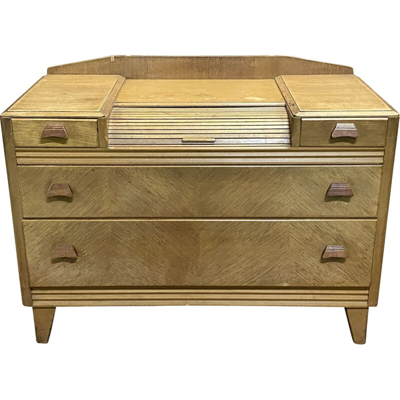Vintage blond oak chest of drawers, English 1970s