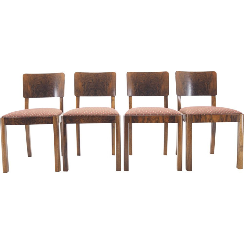 Set of 4 vintage Art Deco Dining Chairs, Czechoslovakia 1930s