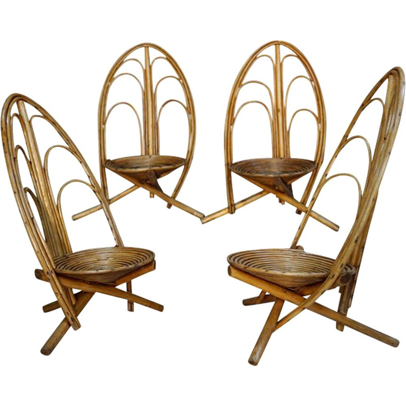 Set of 4 vintage rattan and wood armchairs