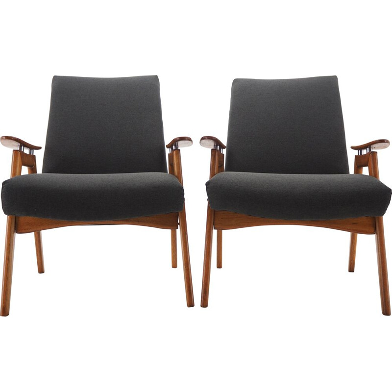 Pair of Midcentury Armchairs, Czechoslovakia 1960s