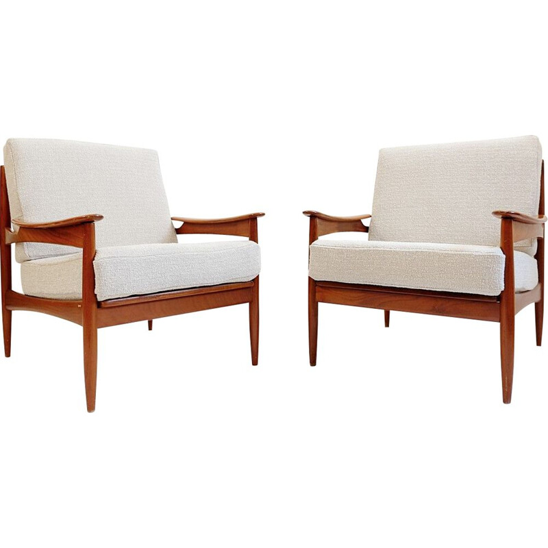 Pair of vintage teak armchairs with new upholstery