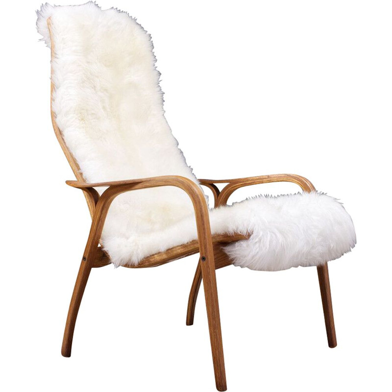Vintage Yngve Ekstrom Lamino High back lounge chair in oak and sheepskin, Swedese 1951s
