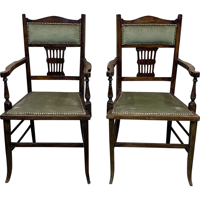 Pair of vintage beechwood armchairs, English 1930s