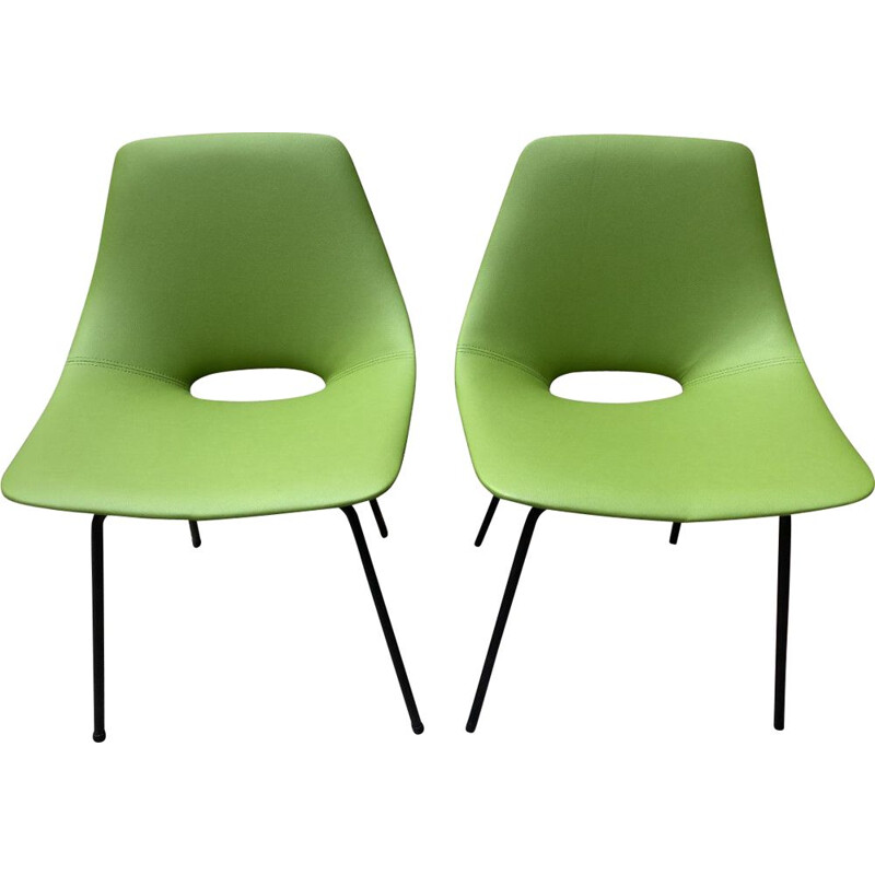 Pair of vintage Tonneau chairs by Pierre Guariche 1955s