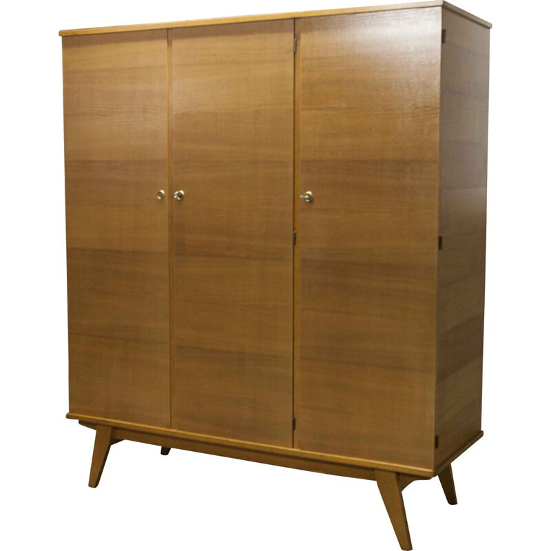 Vintage wardrobe 3 doors with compass feet, Scandinavian 1960s
