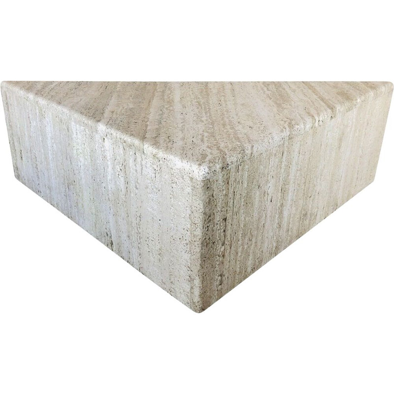 Vintage triangular side table in travertine, Italy 1970s