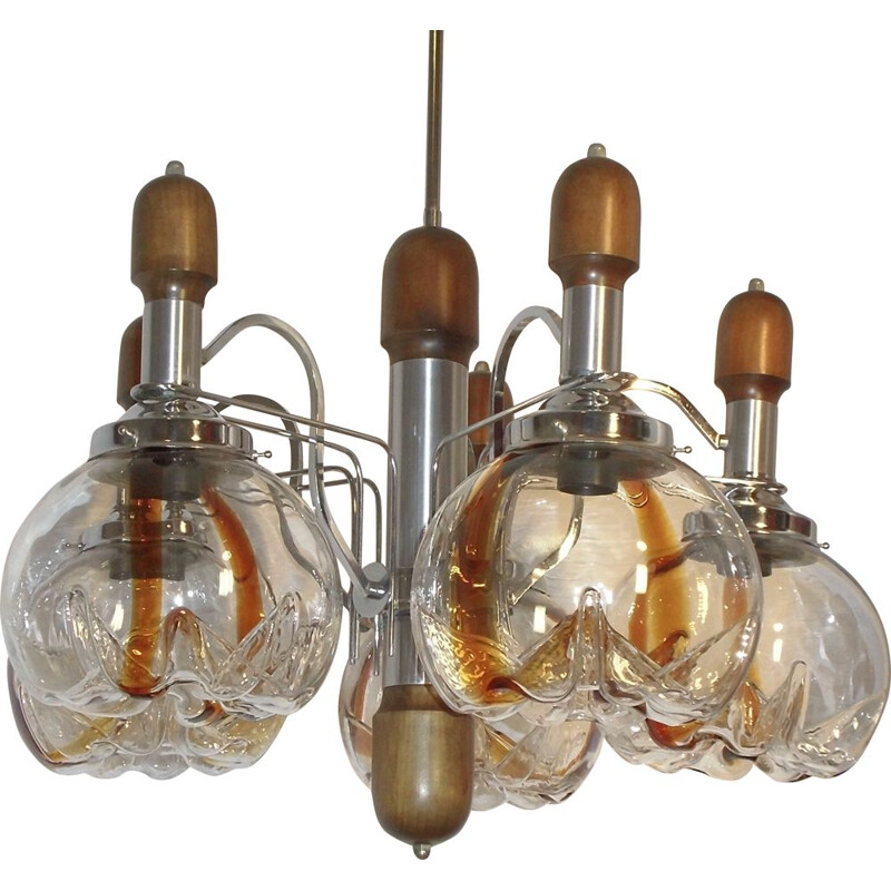Vintage chandelier in Murano glass wood and chrome for Mazzega 1960s