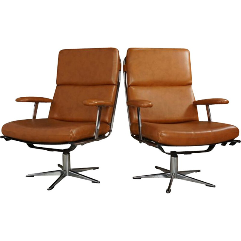 Pair of vintage swivel armchairs in chrome and leatherette 1950s