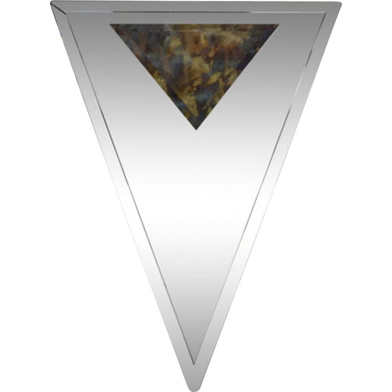 Vintage bevelled and triangular art deco mirror