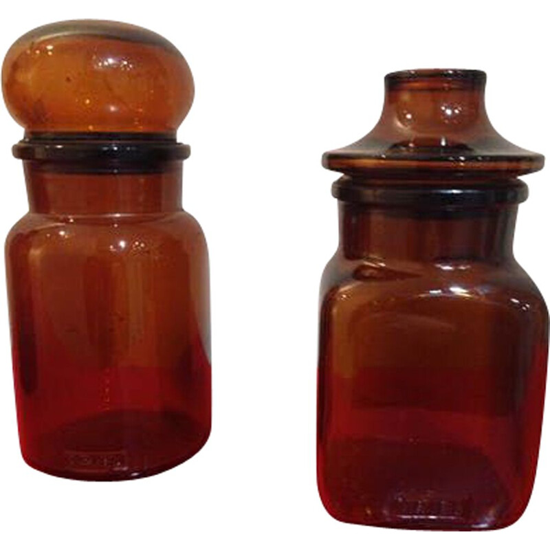 Pair of vintage amber glass jars