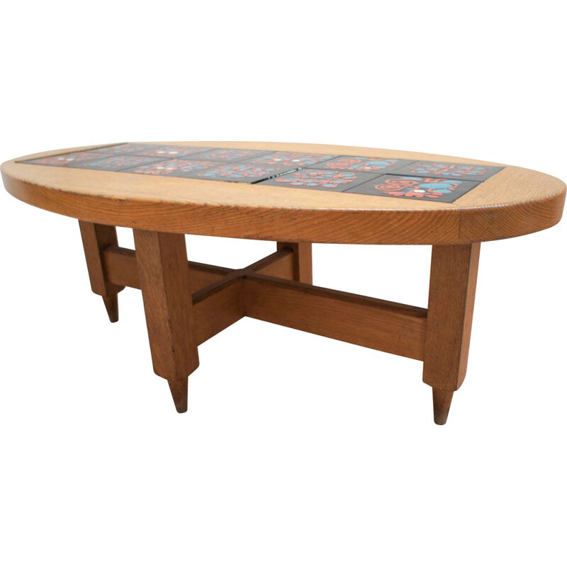 Vintage oak coffee table by Guillerme and Chambron
