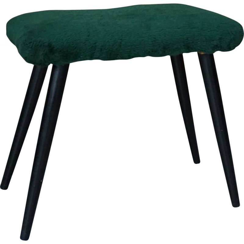 Vintage stool in lacquered wood and fur 1960s