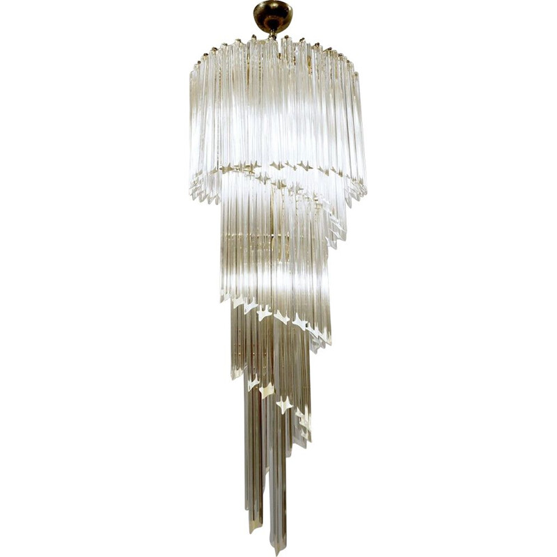 Vintage spiral chandelier from Murano by Venini, Italian 1970s