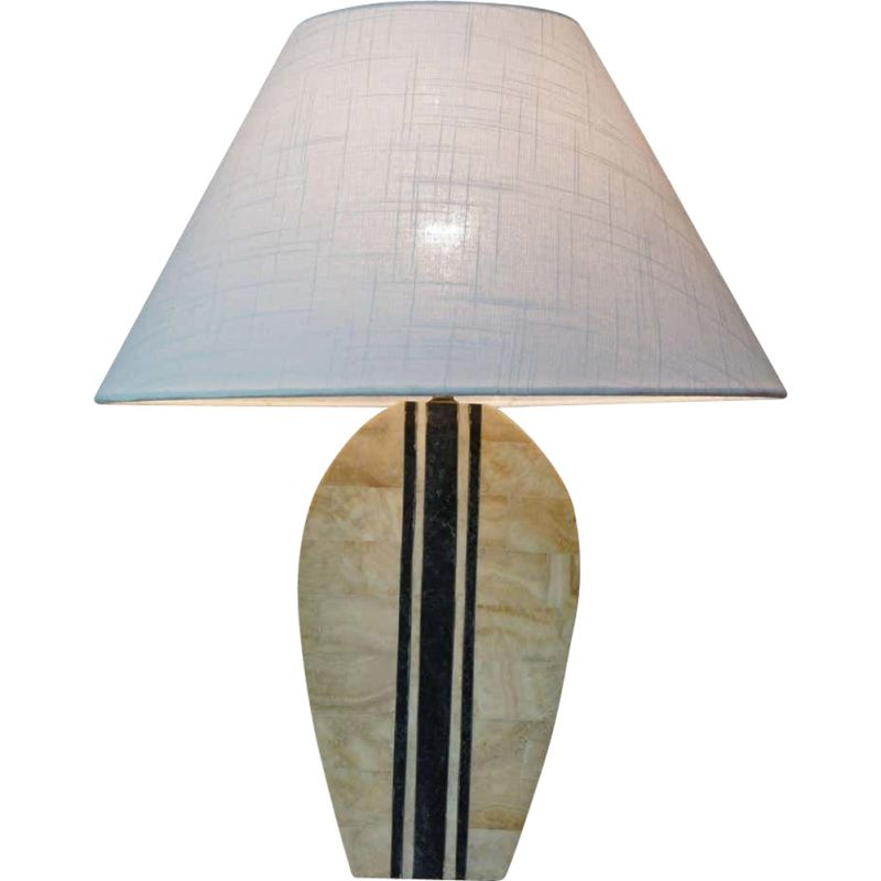 Vintage table lamp in stone and brass marquetry 1970s