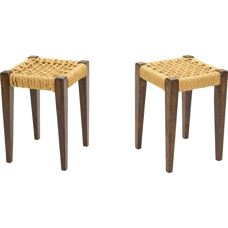 Pair of vintage stained oak stools with rope by Audoux Minet 1950s