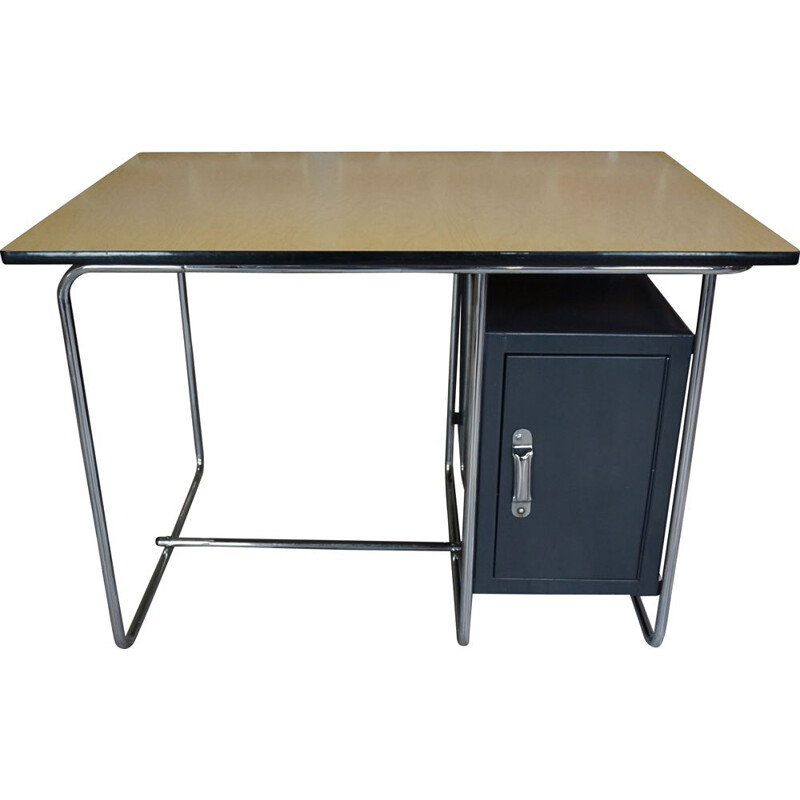Vintage sycamore and chrome desk 1950s
