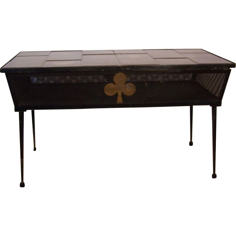 Vintage metal and ceramic coffee table 1950s