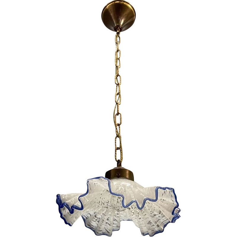 Vintage Murano Glass Blue Frilly Light Pendant