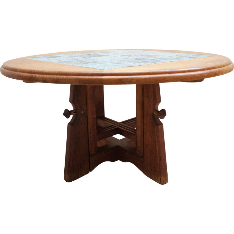 Vintage oak and ceramic height-adjustable table by Guillerme and Chambron