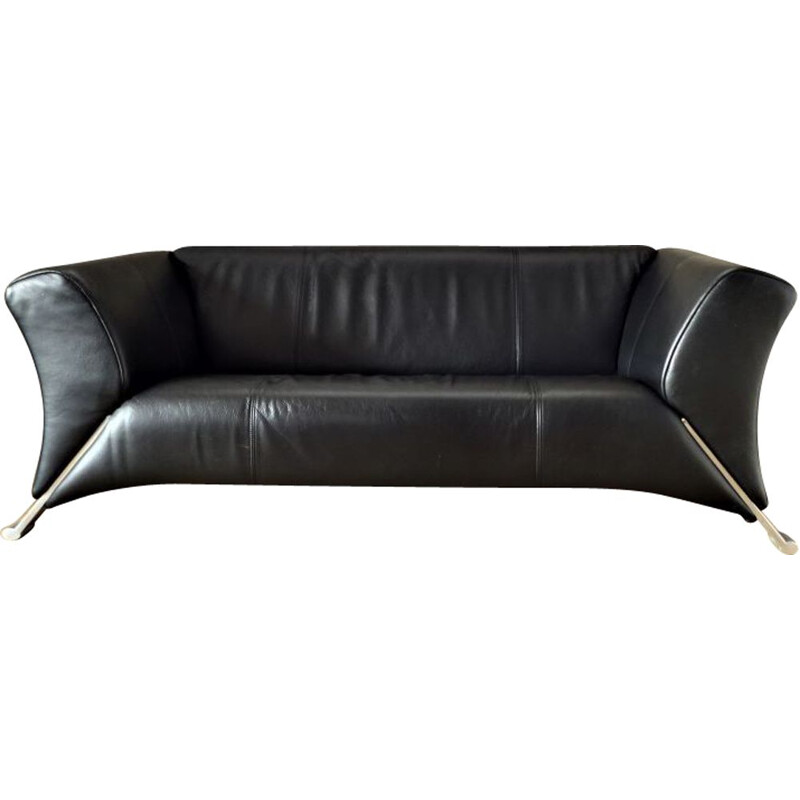Vintage 2-seater black leather sofa by Rolf Benz 2000