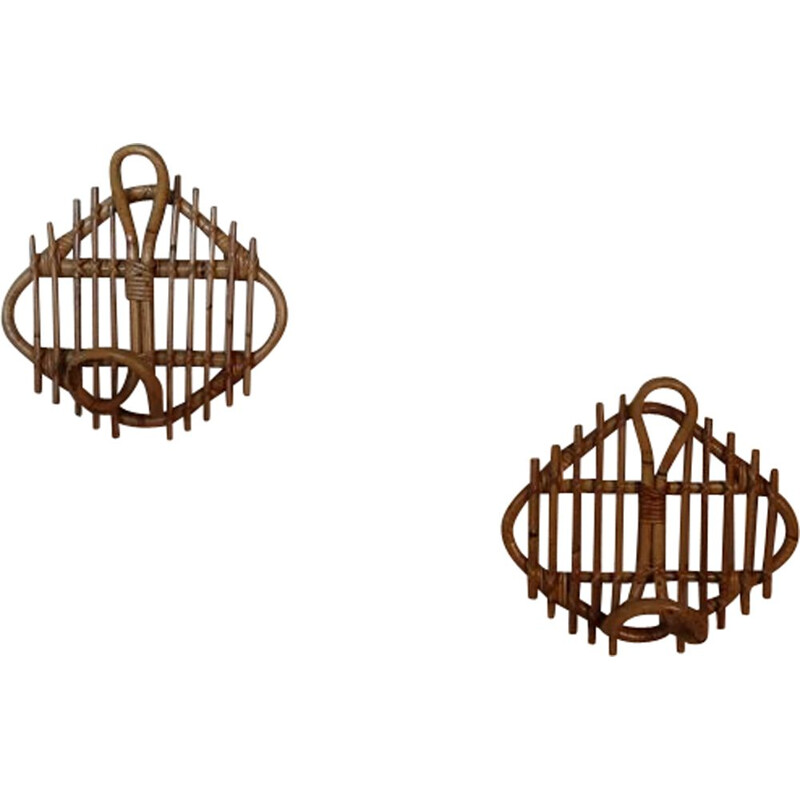 Pair of vintage rattan hooks