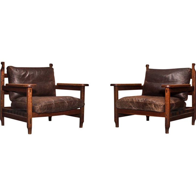 Pair of vintage Brutalist Oak Wood Lounge Arm Chairs, 1970s
