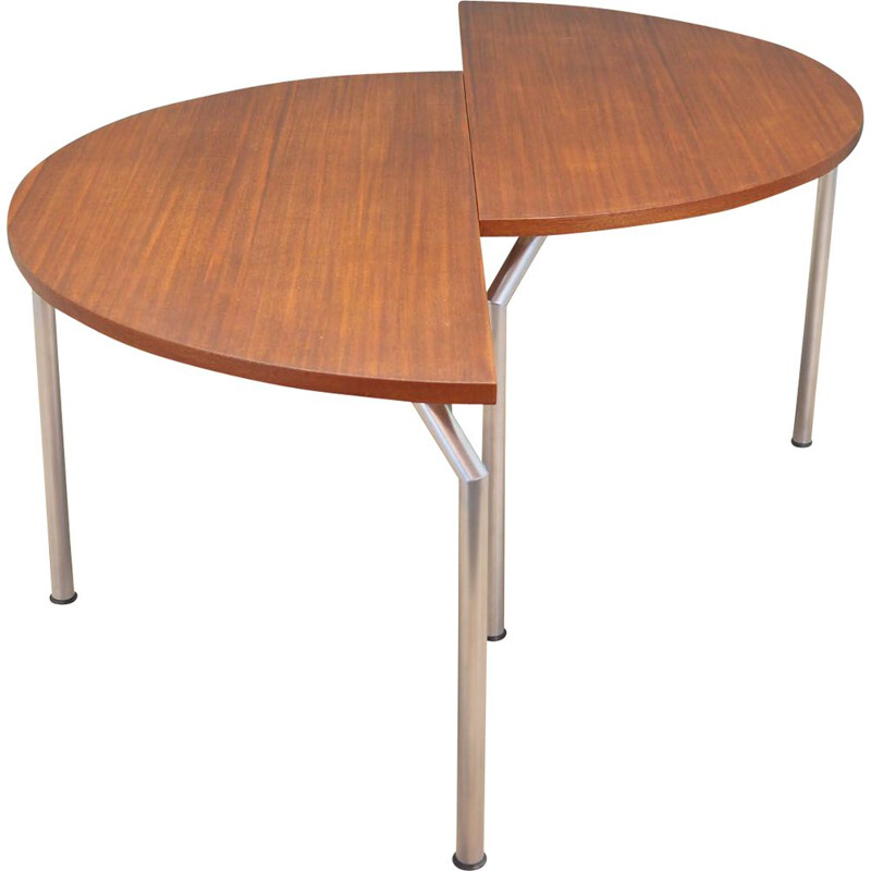 Vintage round teak half table by Bent Krogh, Denmark 1970