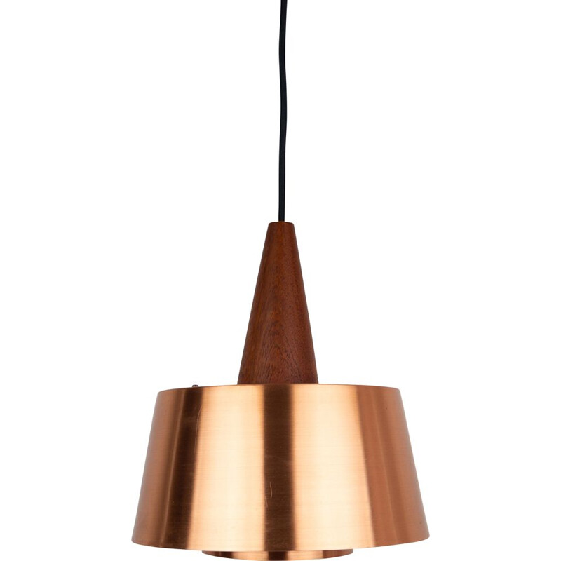 Vintage copper and teak wood pendant lamp, Denmark 1960