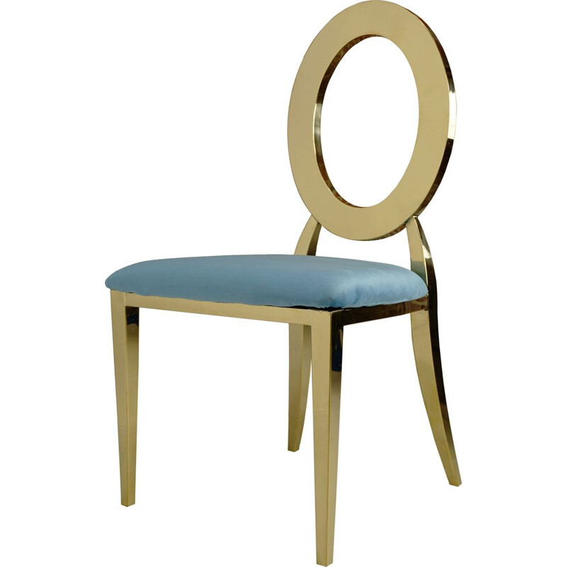 Vintage golden chair with turquoise velvet seat