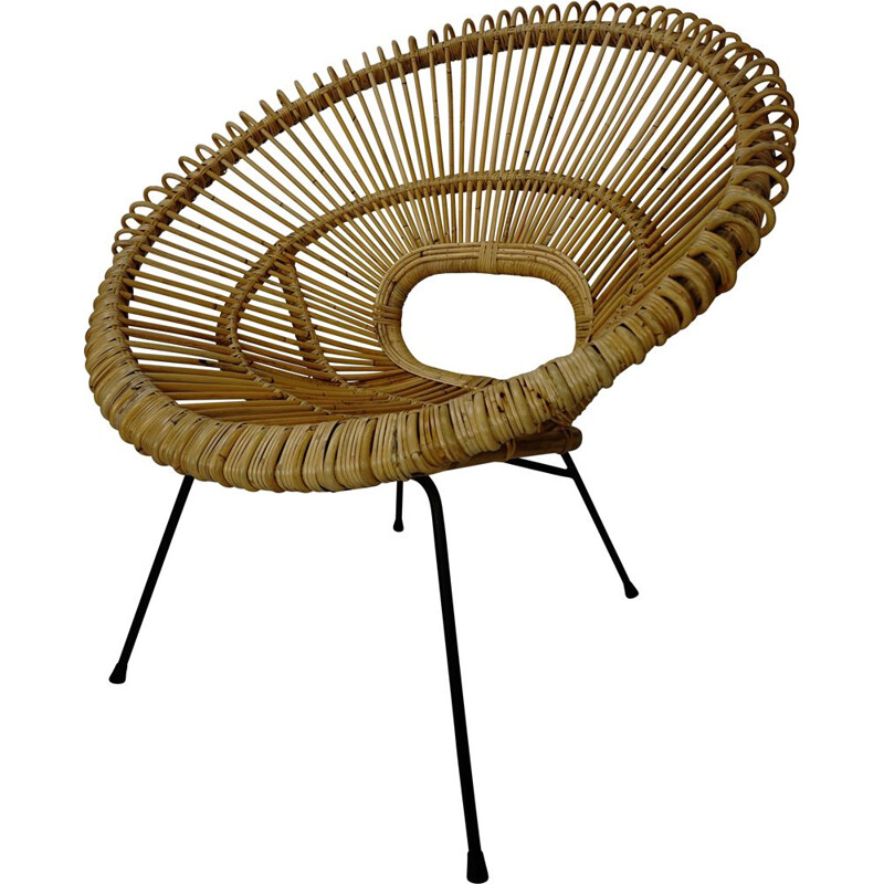 Vintage armchair in rattan and metal