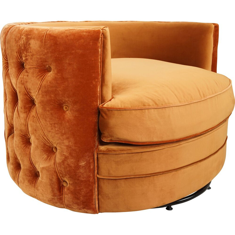 Vintage swivel velvet upholstered armchair