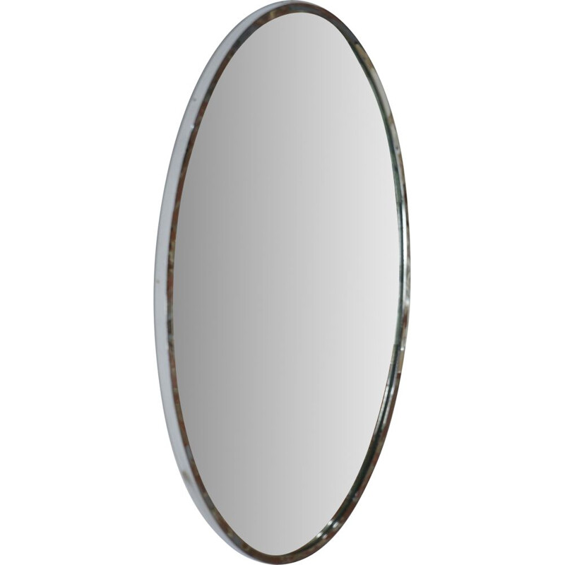 Vintage oval mirror chrome-plated contour 1950